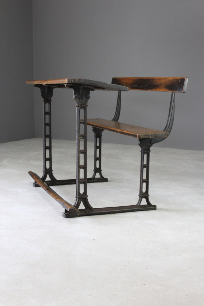Antique Oak & Cast Iron School Desk - Kernow Furniture