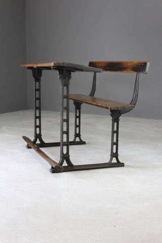 antique oak cast iron school desk