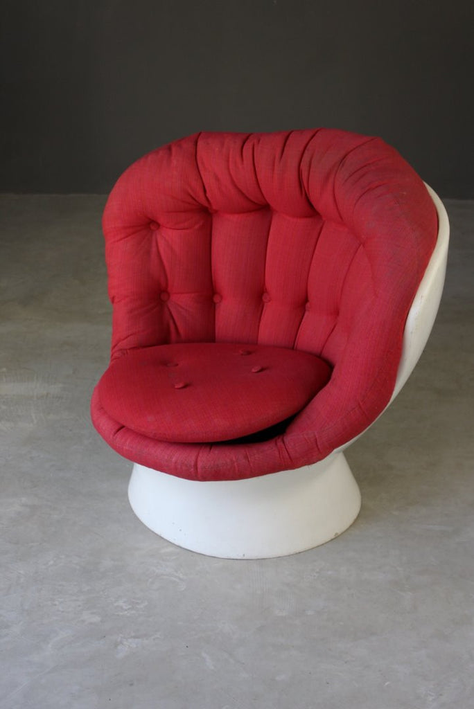 1960s White & Red Button Armchair - Kernow Furniture