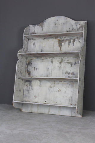 distressed painted shelving wall unit
