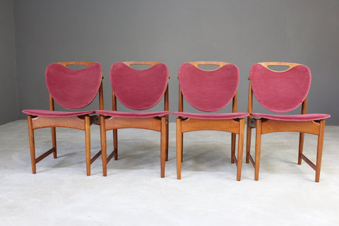 4 Retro Danish Hovman Olsen Dining Chairs - Kernow Furniture
