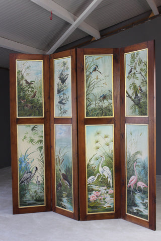 Hand Painted Folding Privacy Screen