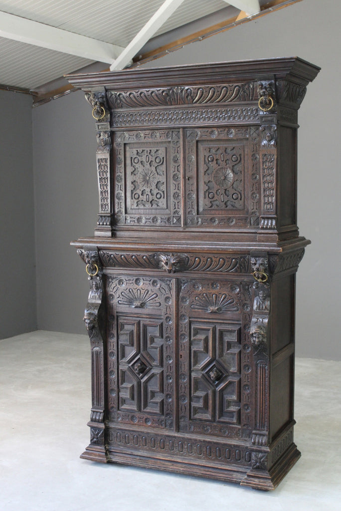 Antique Carved Dark Oak Cupboard