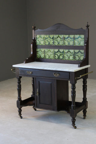Antique Marble Top Tiled Back Washstand
