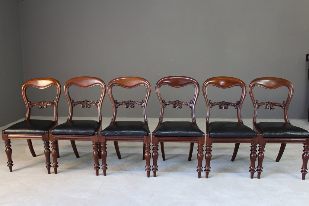 Set 6 Mahogany Dining Chairs - Kernow Furniture