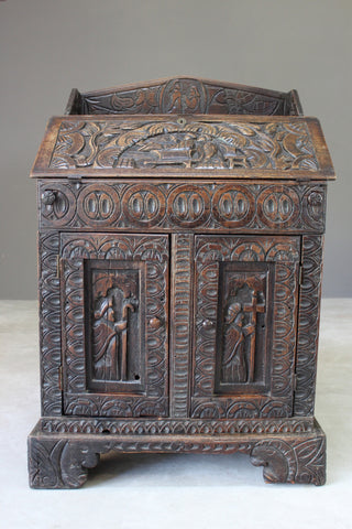 Antique Carved Oak Bureau - Kernow Furniture