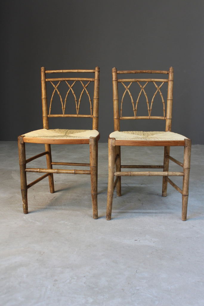 Pair Simulated Bamboo Occasional Chairs