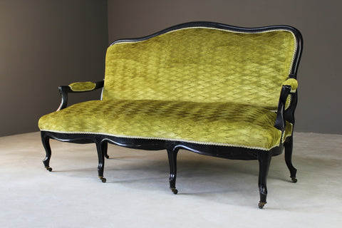 Antique Victorian Ebonised & Green Upholstered Sofa Canape