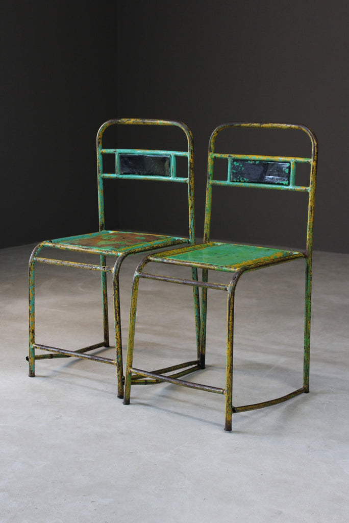 Pair Vintage Metal Stacking Chairs - Kernow Furniture