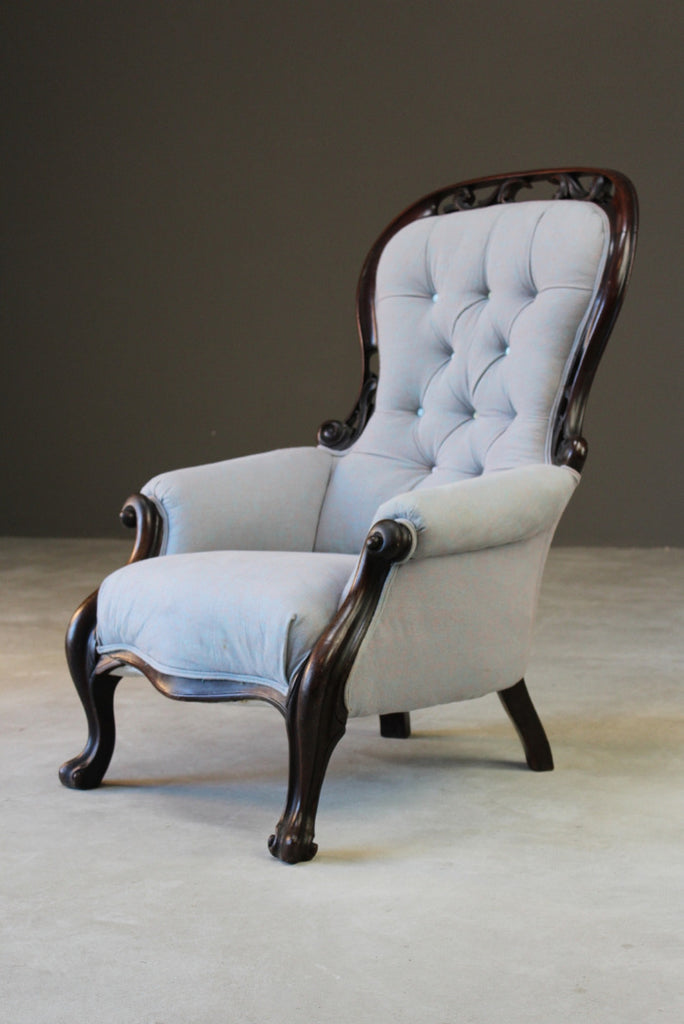 Antique Victorian Upholstered Button Back Armchair - Kernow Furniture