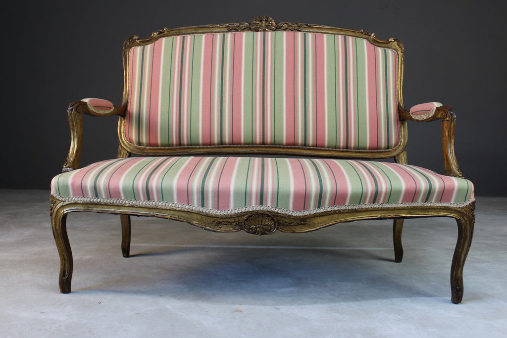 giltwood upholstered french small sofa sette canape
