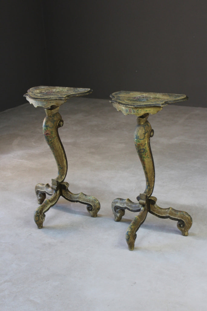 pair painted continental french bedside console tables