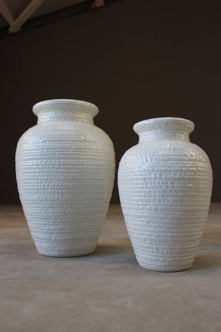 Pair Large Italian White Floor Vase