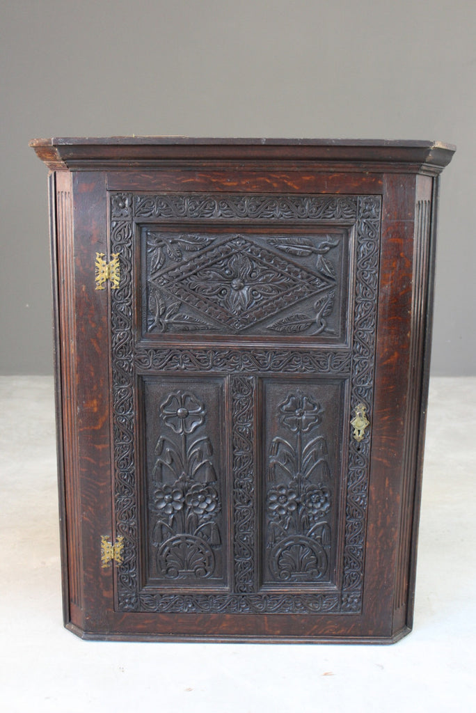 Antique Carved Oak Corner Wall Cupboard