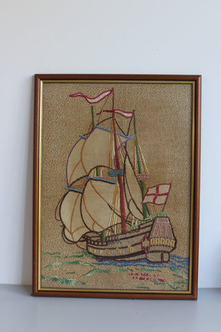 Vintage Framed Nautical Embroidery