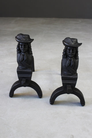 Pair Cast Iron Fire Dogs