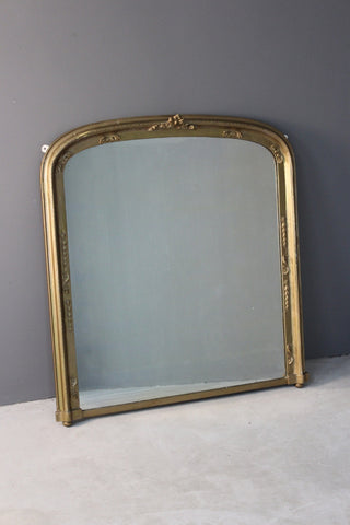 Large Antique Victorian Gilt Overmantle Mirror