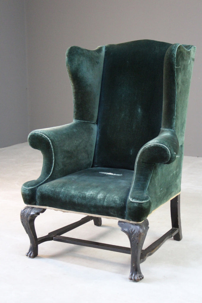 Antique Upholstered Green Velvet Wing Armchair - Kernow Furniture