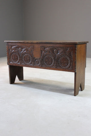 Antique Carved Six Plank Chest