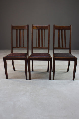 3 Oak High Back Dining Chairs
