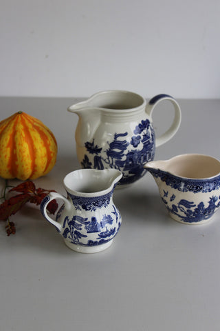 3 Blue & White Willow Jugs