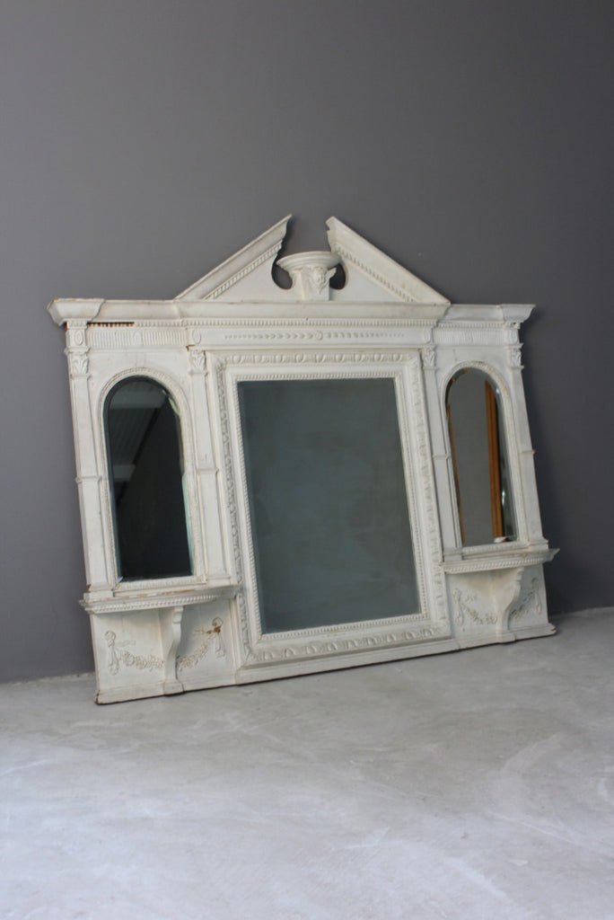 Antique White Painted Overmantle Mirror - Kernow Furniture