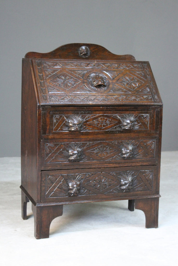 Carved Oak Greenman Bureau - Kernow Furniture