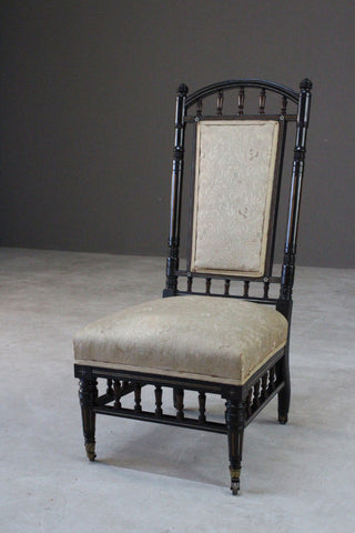 Antique Victorian Ebonised Occasional Chair