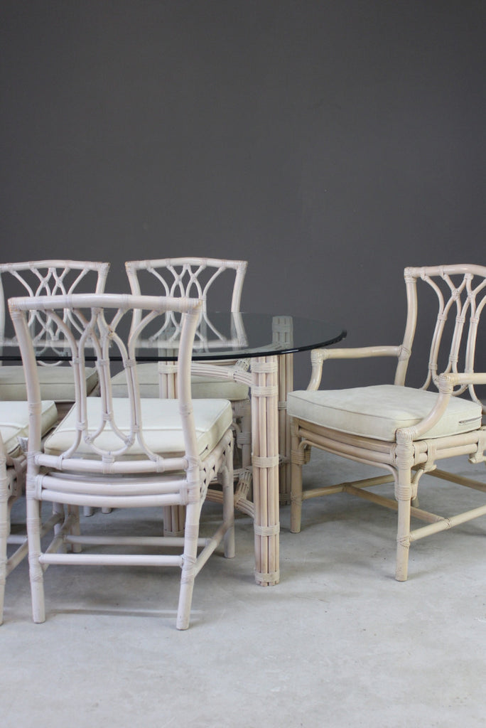 Glass & Cane Dining Table & Chairs