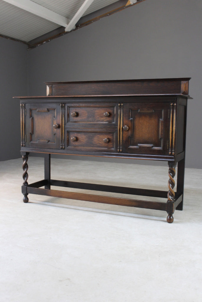 1920s Dark Oak Sideboard - James Shoolbred & Co - Kernow Furniture
