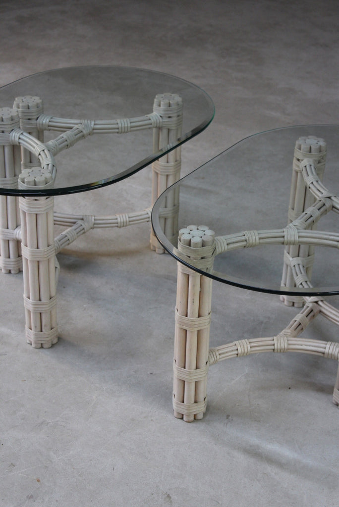 Pair Glass & Cane Side Tables