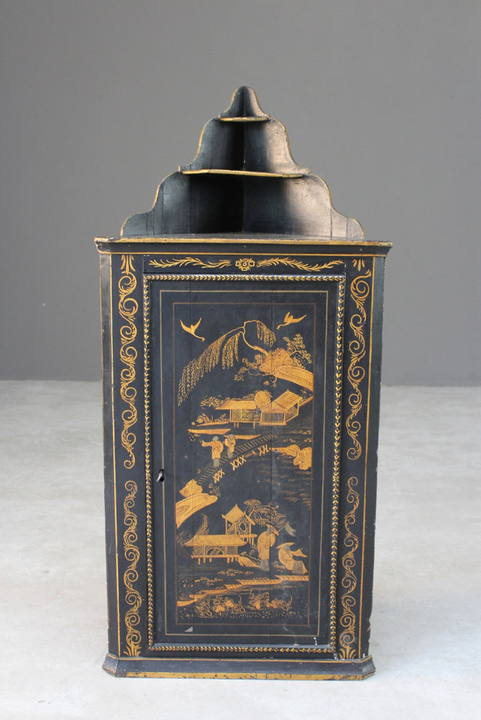 Antique Oriental Style Chinoiserie Wall Cabinet - Kernow Furniture