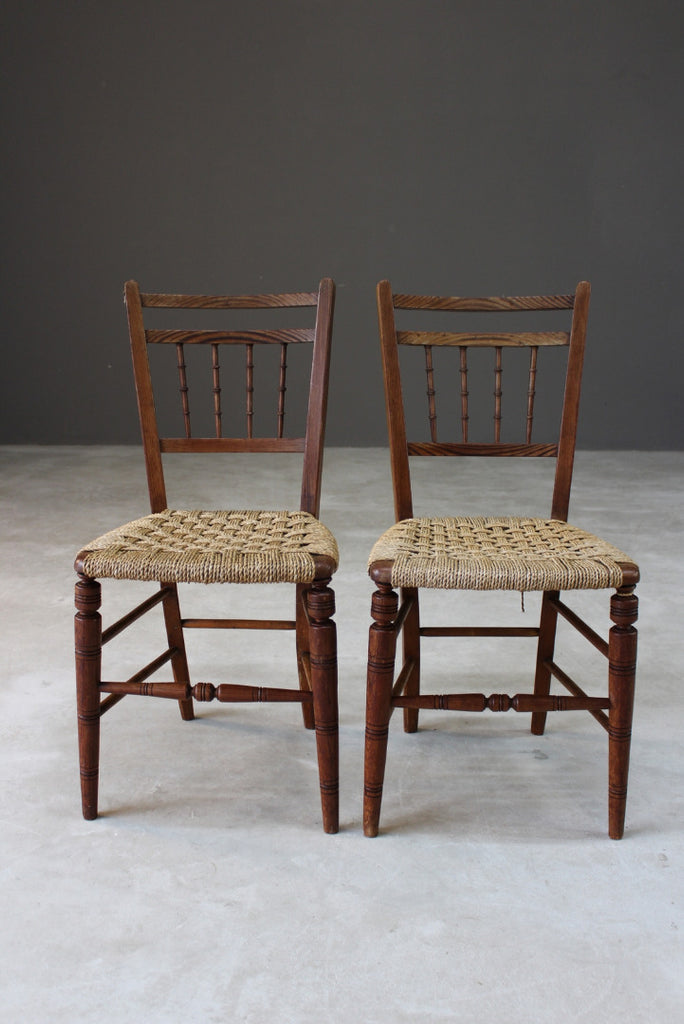 Pair Elm Sisal Seat Occasional Chairs