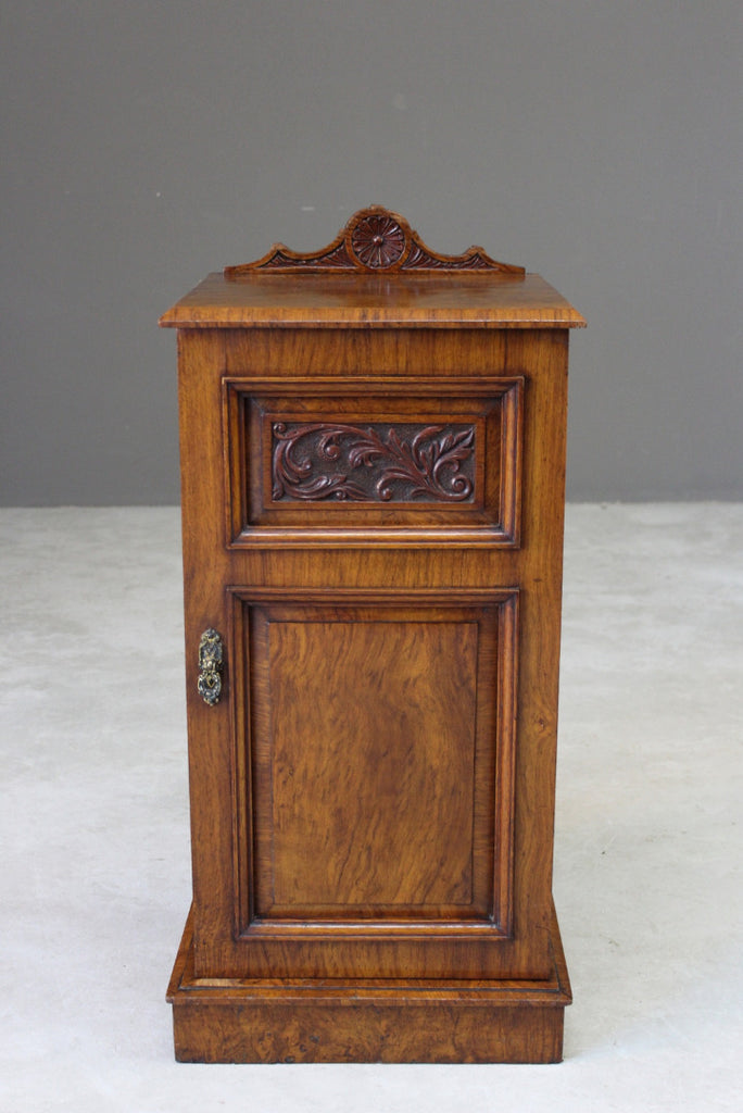 Victorian Walnut Bedside Cabinet - Kernow Furniture