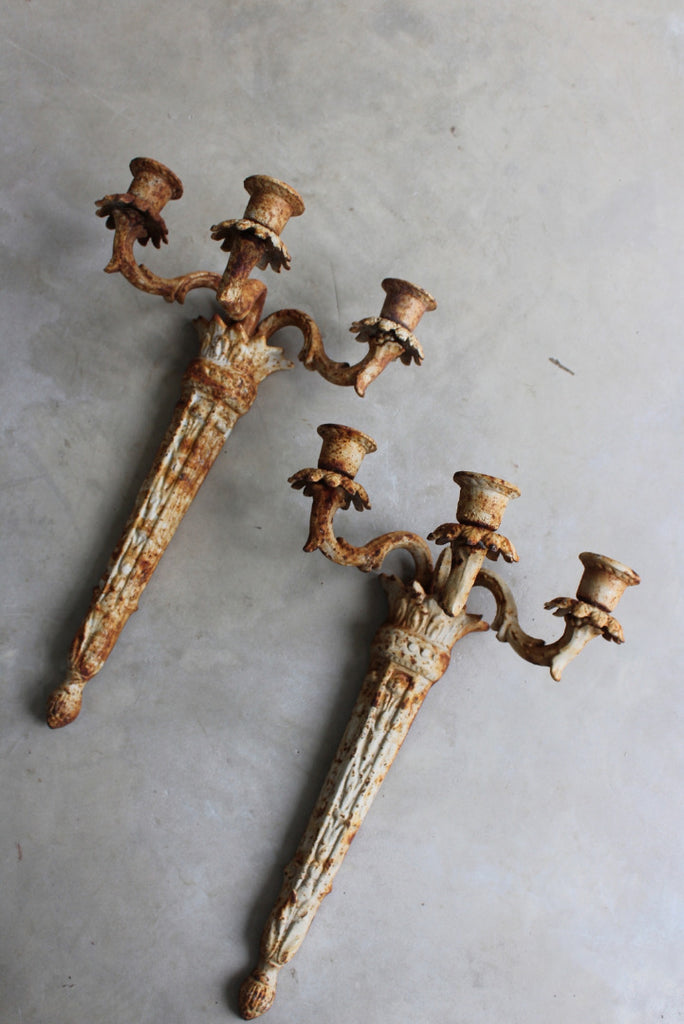 Pair Cast Iron Wall Candle Sconce - Kernow Furniture