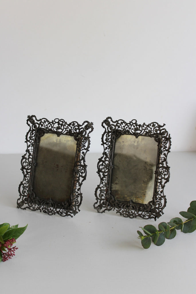 Pair Antique Pierced Lead Photo Frames - Kernow Furniture