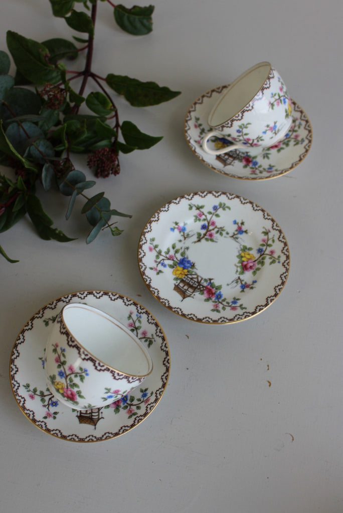 Aynsley Japanese Garden Cups & Saucers - Kernow Furniture