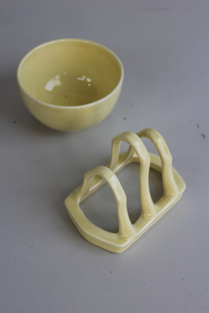 Vintage Yellow Toast Rack & Sugar Bowl - Kernow Furniture