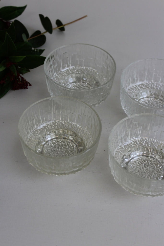 4 Retro Ravenhead Glass Dessert Bowls - Kernow Furniture