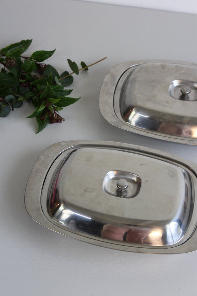 Pair Retro Stainless Steel Serving Dishes - Kernow Furniture