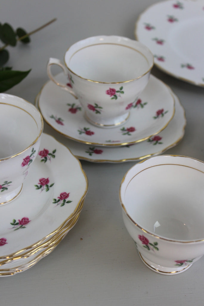 Colclough Ditsy Rose Bone China Cups & Saucers - Kernow Furniture