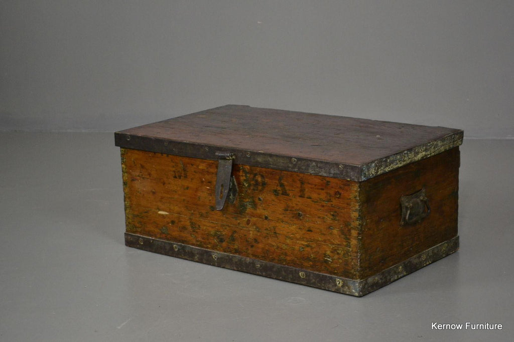 Small Iron Bound Antique Trunk - Kernow Furniture 100s vintage, retro & antique items in stock