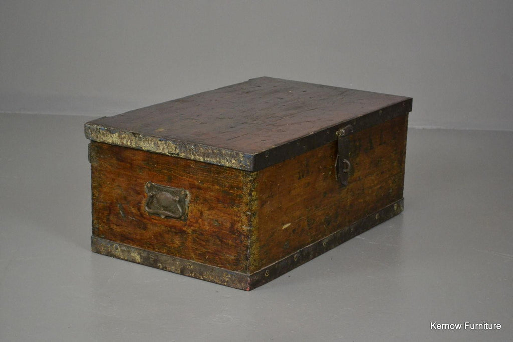 Small Iron Bound Antique Trunk - Kernow Furniture