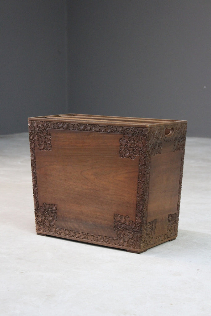 Eastern Carved Teak Magazine Rack - Kernow Furniture