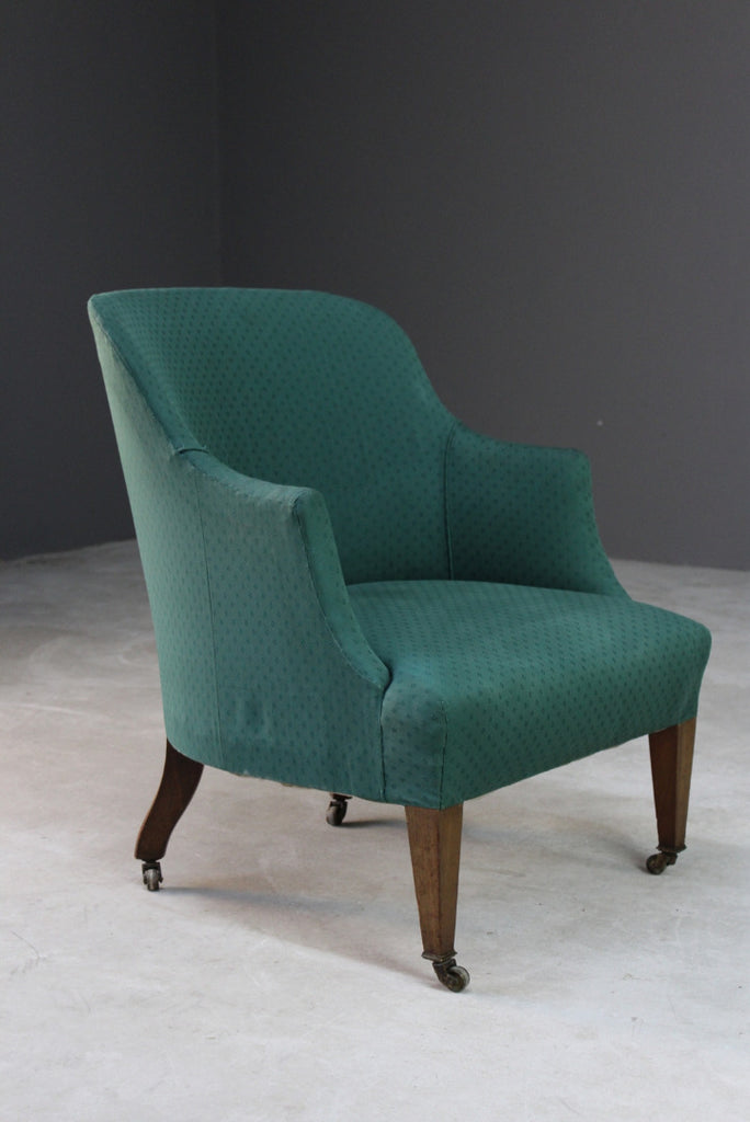 Small Early 20th Century Upholstered Armchair - Kernow Furniture