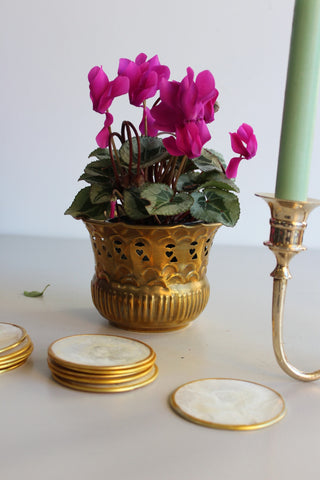 Vintage Pierced Brass Pot