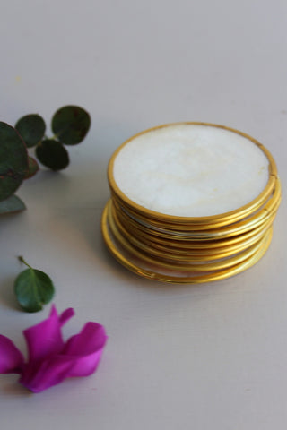 10 Vintage Capiz Shell Drinks Coasters