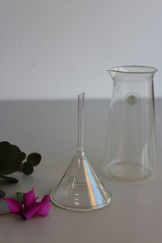 Vintage Glass Beaker & Funnel - Kernow Furniture