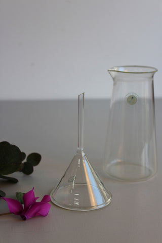Vintage Glass Beaker & Funnel