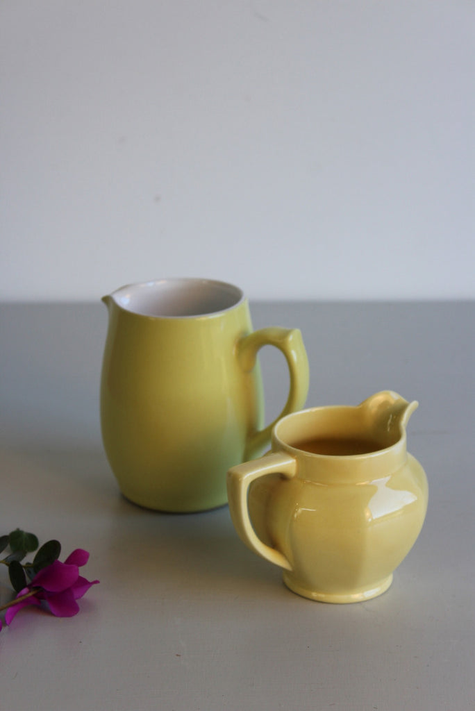 Pair Vintage Yellow Jugs - Kernow Furniture